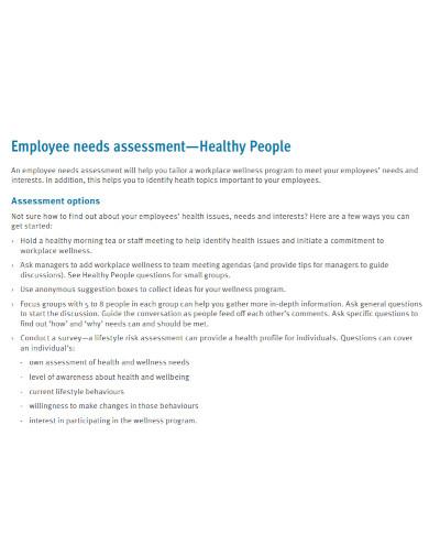 healthy employee needs assessment