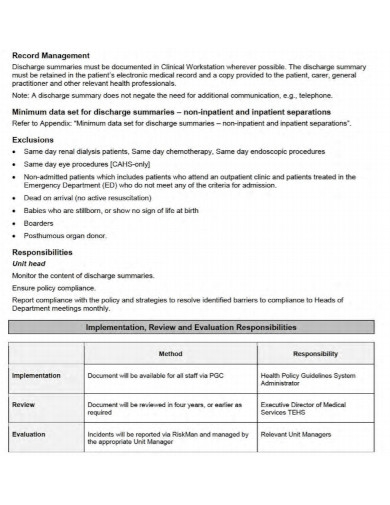 hospital policy discharge summary