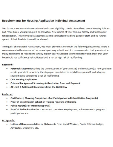 housing application individual assessment