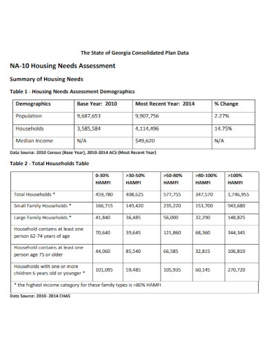 housing needs assessment summary