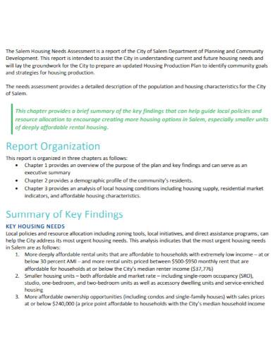 housing needs assessment template