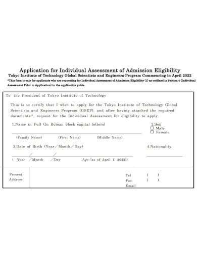 individual assessment of admission eligibility