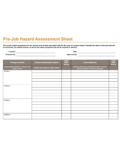 job hazard assessment sheet