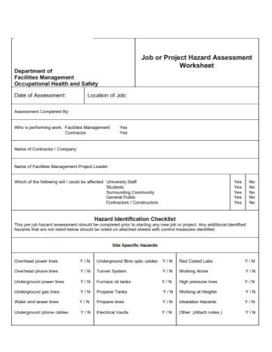 job hazard assessment worksheet