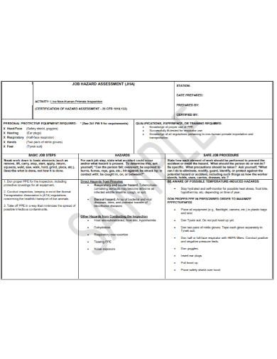 job inspection hazard assessment