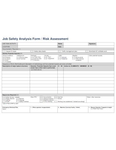 job safety analysis assessment
