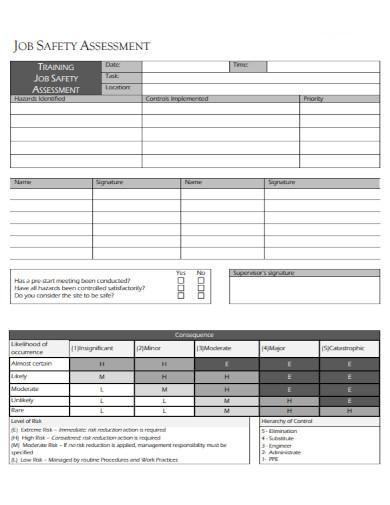 job safety assessment template