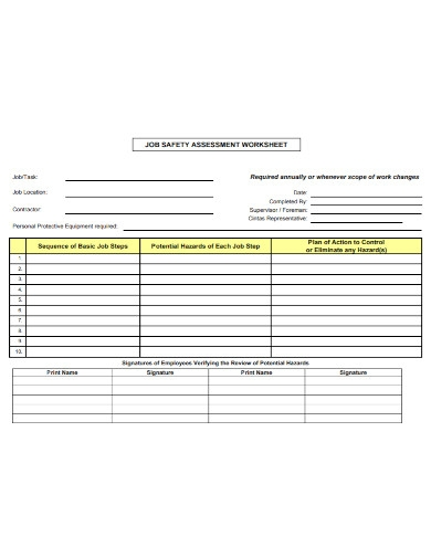 job safety assessment worksheet