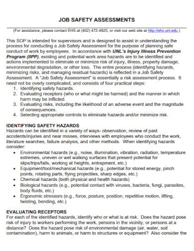 job safety risk assessment