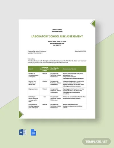 laboratory school risk assessment template
