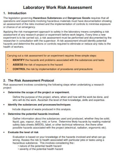 laboratory work risk assessment