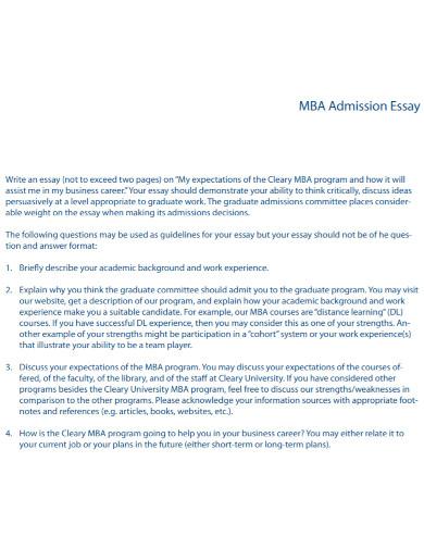 mba admission essay