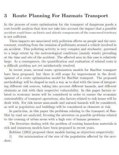materials transport risk assessment