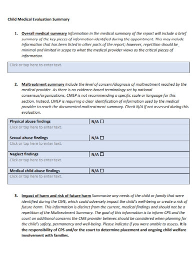 medical evaluation summary report
