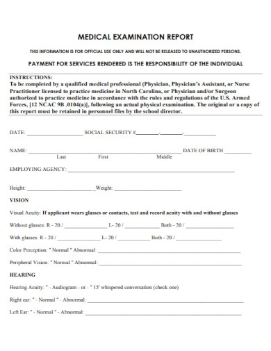 medical examination report in pdf
