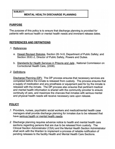 mental health discharge planning summary