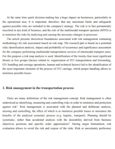 multimodal transport risk assessment