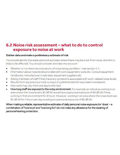 noise risk assessment template