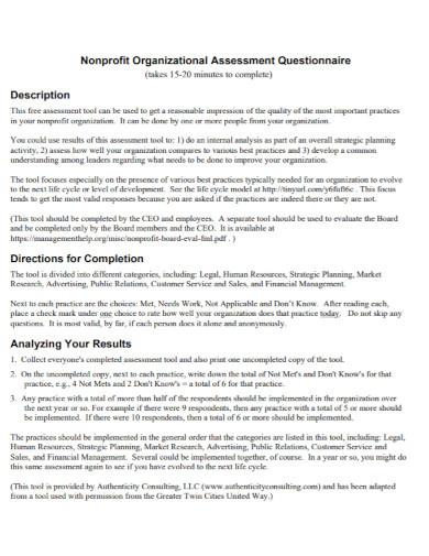 nonprofit organizational assessment