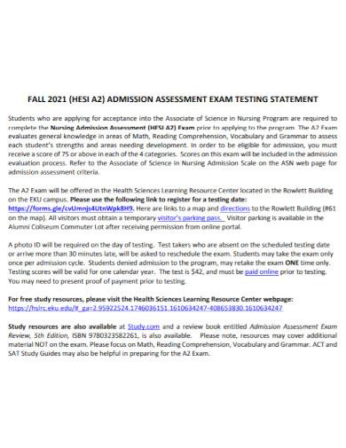 nursing admission assessment statement