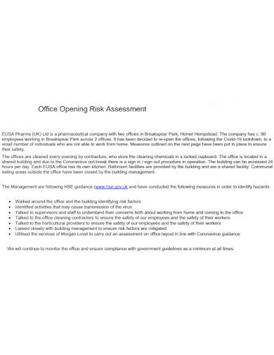 office opening risk assessment