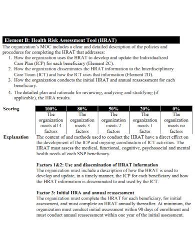 organizations health risk assessment