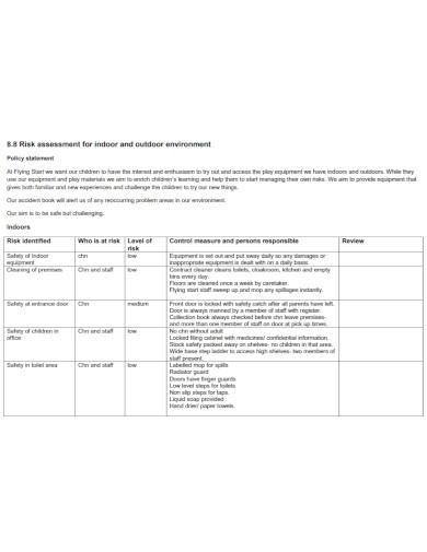 outdoor environment risk assessment