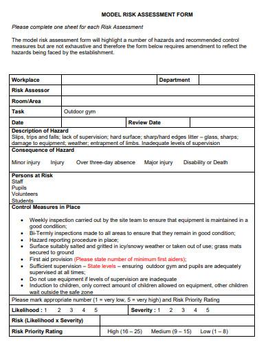 outdoor gym risk assessment