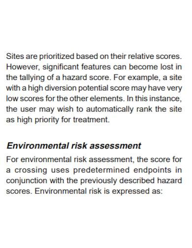 printable environmental risk assessment