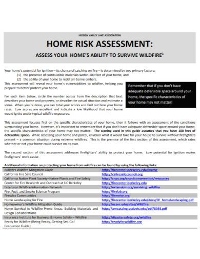printable home risk assessment