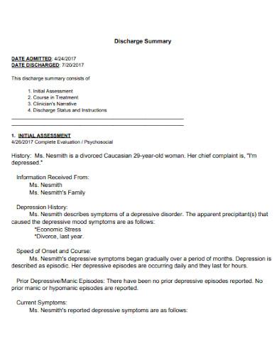 psychiatrist health discharge summary