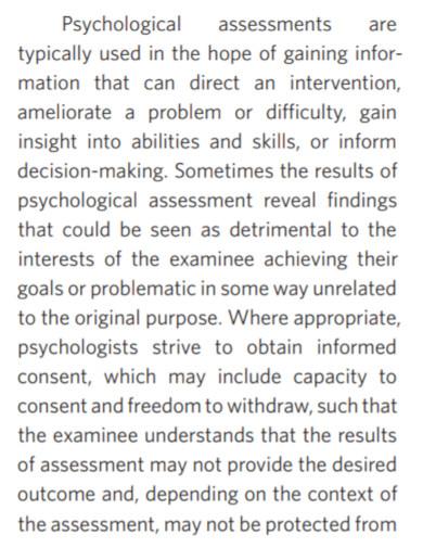 psychological assessment template