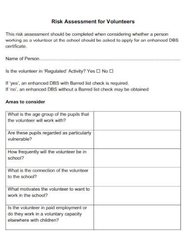 risk assessment for volunteers in pdf