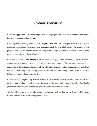 sample acknowledgement for summer internship report