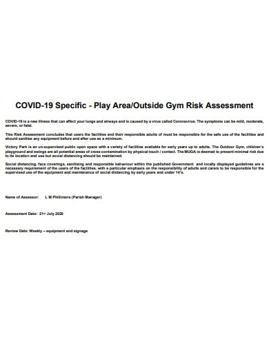 sample covid 19 gym risk assessment