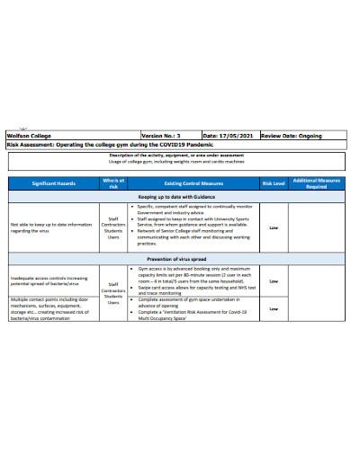 sample gym risk assessment