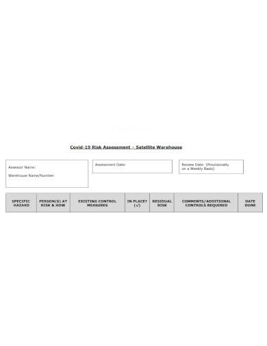 satellite warehouse risk assessment