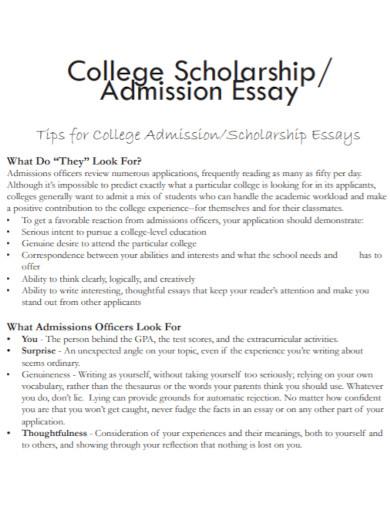 scholarship admission essay