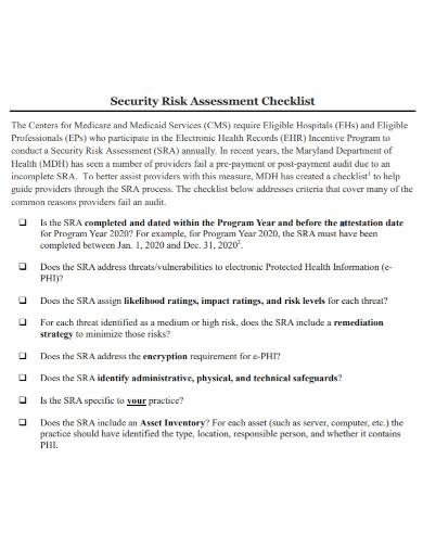 security risk assessment checklist1