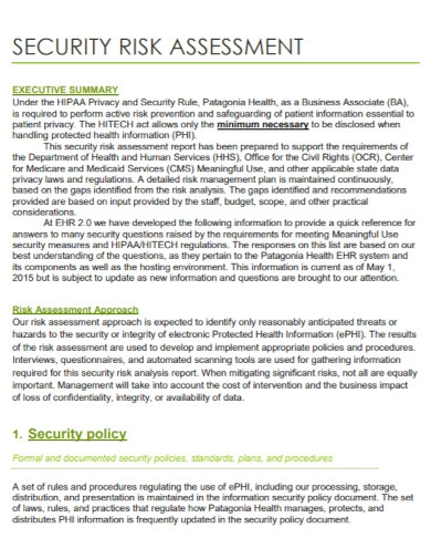 security risk assessment summary1