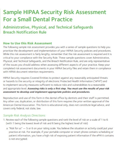 security risk assessment for a dental1