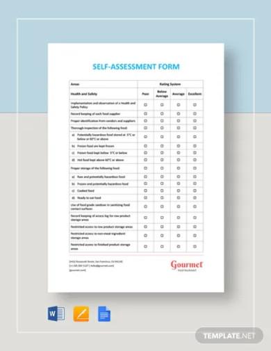 self assessment form template