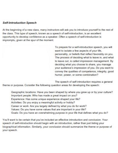 self introduction speech template