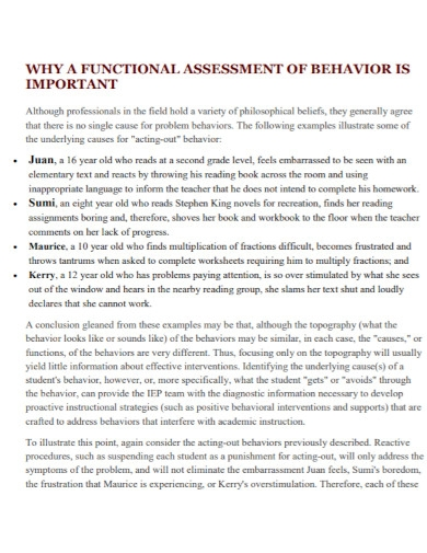 standard behavioral assessment