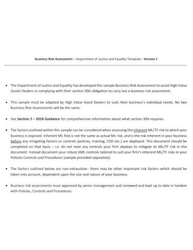 standard business risk assessment