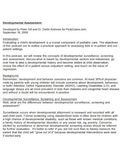 standard developmental assessment