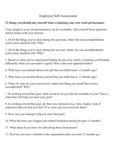 standard employee self assessment