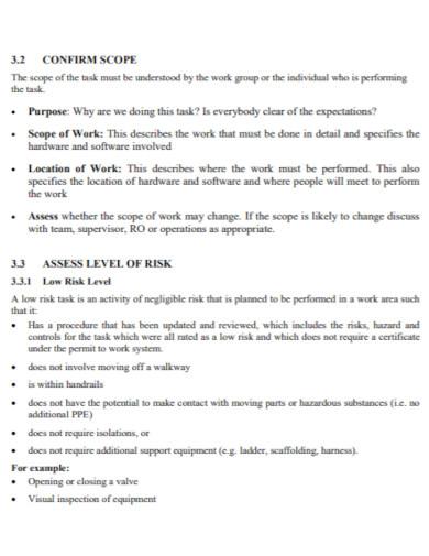 standard job safety assessment