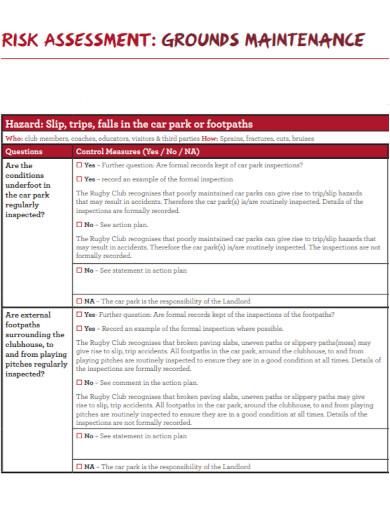 standard maintenance risk assessment