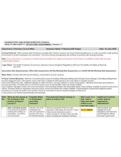standard office risk assessment